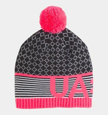 UA Under Armour Girls Black-Pink-Gray Pom Beanie Hat Size MED 4-6Y BRAND NEW