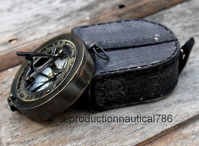 Nautical Antique Brass Compass With Leather Case Vintage Gift Decorative Item
