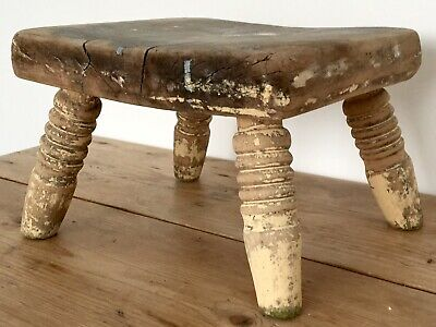 Vintage Wooden Turned Leg Milking Small Low Stool