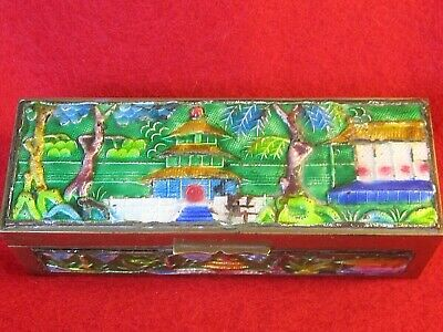 ANTIQUE CHINESE STAMP BOX  BRASS w HEAVY ENAMELING 3 SECTIONS, CHINA (0nly) mark