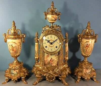 Franz Hermle Striking Mantel Clock Garniture, Good condition and Working order