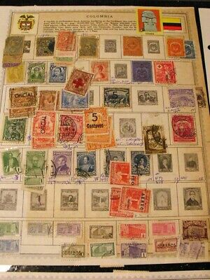 160+ Stamp Collection Columbia 1890 to 1960s Album Pages Lot Unsorted