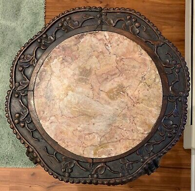 """Antique CHINESE 36"""" Tall CARVED WOOD MARBLE TOP PLANT STAND TABLE 19th Century"""