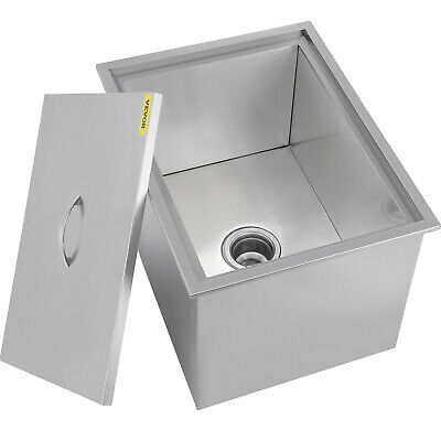 59 X 43.5 X 30.5 CM Drop In Ice Chest Bin Insulated Wall Lid Stainless Steel