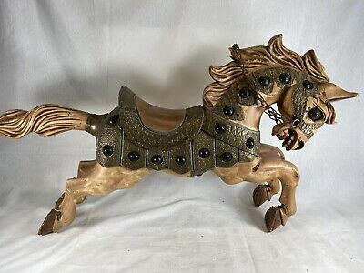 Vintage Carved Wooden Carousel Roman Chariot Horse Hand Painted Folk Art