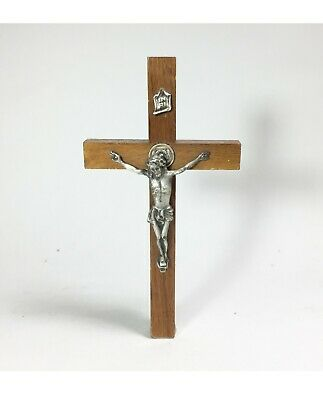 Vintage Wood & Metal Jesus Cross Crucifix INRI Wall Hanging Religious Holy