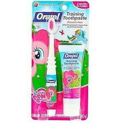 Orajel, My Little Pony Training Toothpaste with Toothbrush, Flouride Free, Pinki