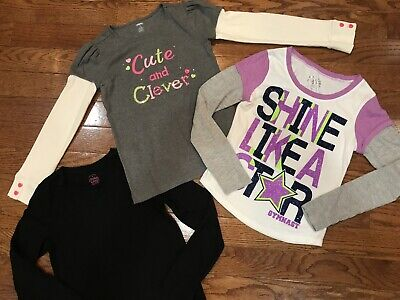 Girls Size 10 Justice Shirts Tops Gymboree Faded Glory Kids Lot Clothing Gray