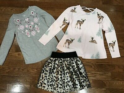 Girls Size 8 Justice Tops Shirts Skirt Lot Delias Kids Clothing XS Pink Black