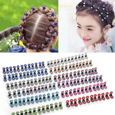 12PCS Lovely Crystal Flowers Metal Hair Claws Hair Clip Girls Hairstyle Hairpins