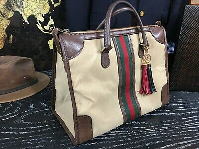 GUCCI Italy Vintage  Duffle Overnight Travel Duffle Doctor Suitcase Cabin Bag