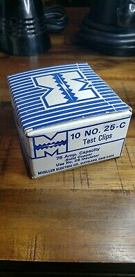 Box Of 10 NOS Mueller No 25-C Solid Copper 75 Amp Electrical Test Clips USA