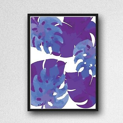 palm leafs leaves print PICTURE WALL ART A4 Botanical plant UNFRAMED blue
