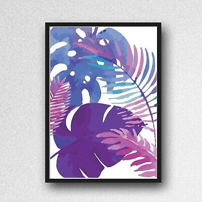 palm leafs leaves print PICTURE WALL ART A4 Botanical UNFRAMED blue purple 2