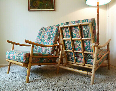 Retro Vintage Mid Century Pair Cane ArmChairs Rattan Bamboo Patio Chairs 1970s