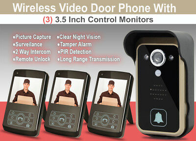 Wireless Video Door Bell with Three 3.5 inch Control Monitors_Night Vision