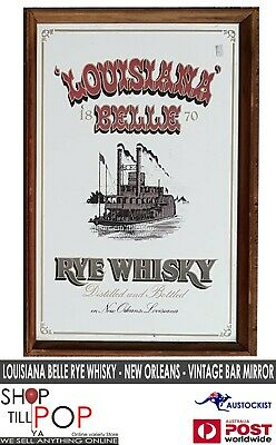LOUISIANA BELLE RYE WHISKY NEW ORLEANS VINTAGE BAR MIRROR 40x60cm MINT MAN CAVE