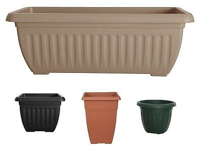 Plastic Square Rectangular Athens Plant Flower Pot Pots Planter Container