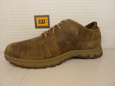 Cat Caterpillar Science Distressed Brown Taupe Leather Nubuck Lace Up Mens Shoe