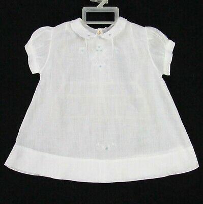 Vintage 50s White Cotton Gauze Infant Dress Gown 6-12 Months Embroidery Handmade