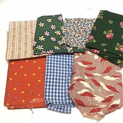 Lot Of 7 Vintage feedsack fabric Quilting Floral Checked Scraps