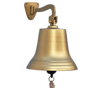 "Antiqued Brass Finish Solid Aluminum Ship's Bell 10"" Nautical Hanging Wall Decor"