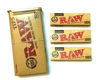 RAW PRE ROLLED ROACHES FILTER TIPS and METAL TIN 3 x CLASSIC ROLLING PAPERS RYO