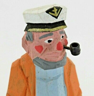 "Captain Fisherman Figure Wooden Sailor Pirate Skipper 7"" Nautical Hand Carved"