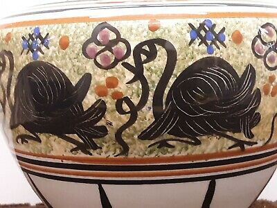 Vintage Greek Athens Keramiks 8 Inch Tall Vase Hand Painted With Swan Design