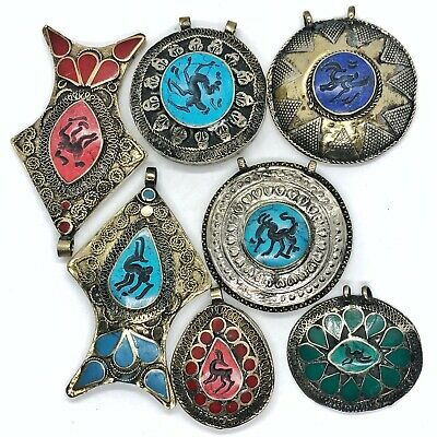 7 Antique Middle Eastern Islamic Medieval Style Intaglio Pendants Old Jewelry