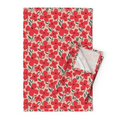 Abstract Poppies Red Floral Blush Linen Cotton Tea Towels by Roostery Set of 2