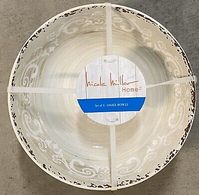 NWT NICOLE MILLER Blue And Cream Lattice Set Of 6 Dinner Plates Melamine