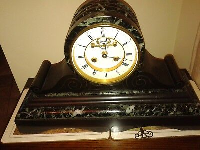 Antique  Victorian Drumhead Marble Fine Quality Clock