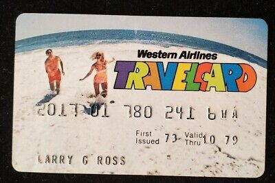 Western Airlines Travel Card credit card expired 1979♡Free Shipping♡cc565