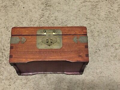 Antique Chinese Rosewood Jewelry Box 9 x 6 x 4 1/2 1970