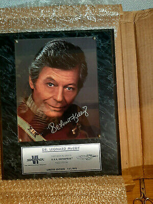 Deforest Kelly Autographed Dr. Leonard Mccoy Plaque With COA 121 of 995