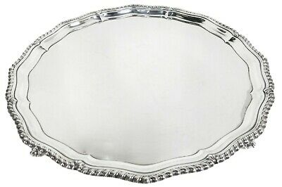 """LARGE ROUND FOOTED ENGLISH STERLING SILVER TRAY / SALVER. 16.25"""" Diameter"""
