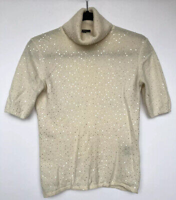 Pure Amici Women Top Size XS 100% Cashmere Ivory Sequins