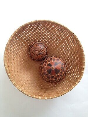 Vintage Hand Carved Gourd Seed Pod  X2 Peruvian Folk Art Eclectic Shaker