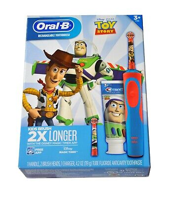 Disney Toy Story Woody Oral-B Rechargeable Kids Toothbrush Crest Toothpaste Kit