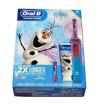 Disney Frozen Olaf Elsa Oral-B Rechargeable Kids Toothbrush Crest Toothpaste Kit