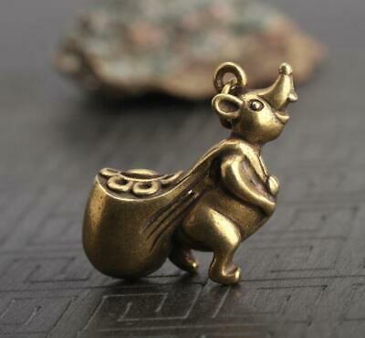 "1.3""Curio Chinese Bronze Wealth Zodiac Animal Lucky Mouse Moneybag Small Pendant"