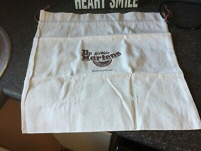 "DR. MARTENS cream medium cotton drawstring shoe boot pump bag 17.5"" x 18.5"" NEW"