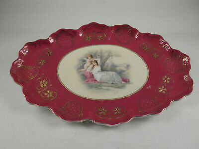 "ANTIQUE ""ROYAL VIENNA"" HAND PAINTED PORCELAIN CABINET PLATTER,11 3/4"", c.1880-95"