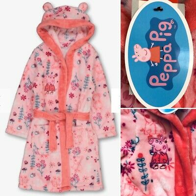Tu PEPPA PIG Girls Pink Warm Cosy Hooded Dressing Gown Robe - 3-4 Years - New!