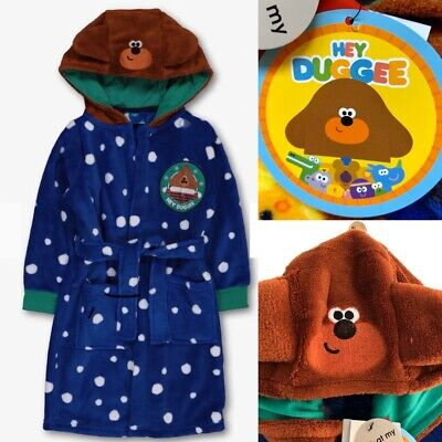 Tu HEY DUGGEE Boys Blue Warm Cosy Hooded Dressing Gown Robe - 3-4 Years - New!