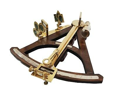 Vintage Navigational Instrument Decor Brass Antique Ancient Maritime Sextant