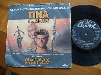 """TINA TURNER 1985 WE DONT NEED ANOTHER HERO MAD MAX 7"""" 45 rpm SINGLE VINYL RECORD"""
