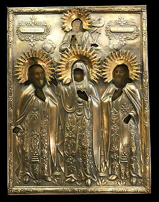 "Antique Russian Hand Painted Icon Bronze oklad "" THOMAS, MARTINIAN, VIRGIN MARY"""