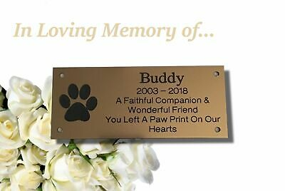 Brass Effect Engraved Personalised Memorial Dog Plaque
